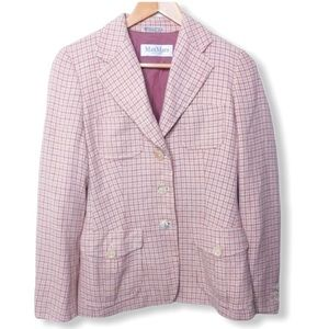 MaxMara Pink Silk Tweed Pattern Blazer